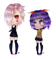 Juu and Majin Chibi by Sasora23