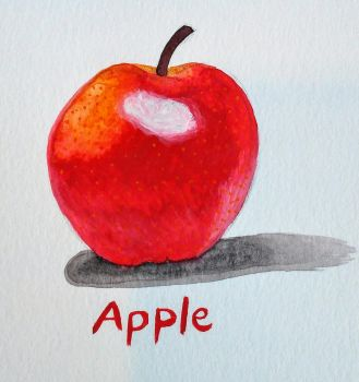 Apple Painting~ Experimenting with Gouache Paints! by JR-Sketcher