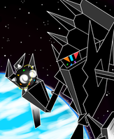 Necrozma and Shiny Minior in Space