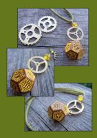 Steampunk D12 dice pedant by kickthebucket