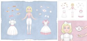 Romantic Tea Party Paperdoll by Ninelyn
