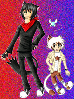 GaMERCaT and Glitch Human Versions by TigerLillyKitty