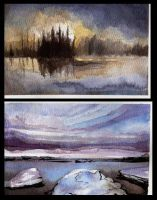 Watercolour Postcards by dthehippie
