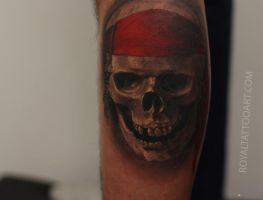 realistic black and gray tattoo by Royal3