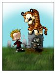 Calvin and Hobbes and a Zombie by MyDyingRose