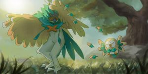 Decidueye and Rowlet by Presteasy