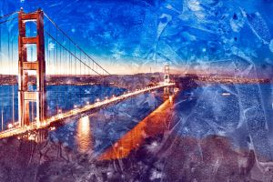 Golden Glass Watercolor Bridge - Exclusive Premade by somadjinn