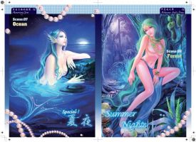 Four Seasons-Summer: the ocean and the forest by shawli2007