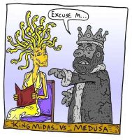 Midas vs Medusa by Lordwormm