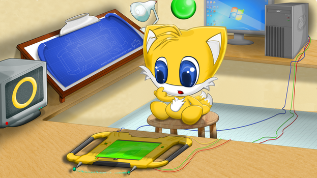 Tails Chao 16:9 Desktop Edition by Lilbrownfox