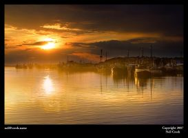 Sunset on Lakes Entrance by neilcreek