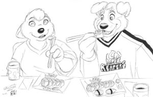 Chilly and Hobbes Have Sushi by mlaproductions