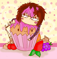 Andreth eats a strawberry-cupcake by Andrethcake1995