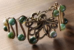 Octopus Steampunk Bracelet Moss Agate by CatherinetteRings