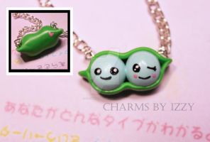 New and improved kawaii peapod charm necklace by CharmsByIzzy