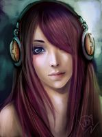 girl with headphones by oO-NairaIvory-Oo