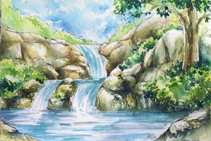 Watercolor landscape by chuaenghan