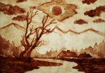 Landscape (coffee painting) by AlexandraDart
