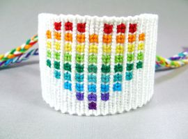 Rainbow Pixelated Heart Friendship Bracelet by QuietMischief