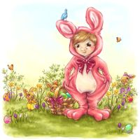 Egg-hunt in Pink Bunny-suit by DreamsOfALostSpirit