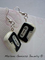 .:BLACK CASSETTES EARRINGS:. by kickthebucket
