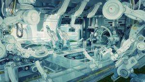 futuristic lab as part of huge medical complex by Ociacia