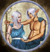 Poseidon and Amphitrite by Morgalahan