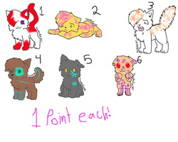 Cat Adopts 1 pnt each by TwilightLuv10