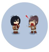 Mikasa took Sasha's potato. by Roseclearful