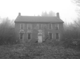 Old Brick House in Fog Touched Up B/W by TheGreatWiseAss