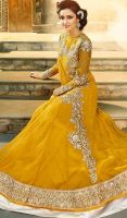 Yellow Embroidered Net Floor Length Anarkali Suit by ZYLPHIADOYLE