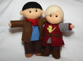 Merlin and Arthur Plushies by katysam