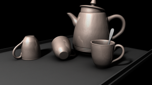 Teapot and cups by EntryPlug
