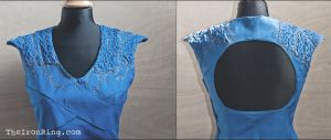 Daenerys' Dragonscale Blu Dress decoration details by TheIronRing