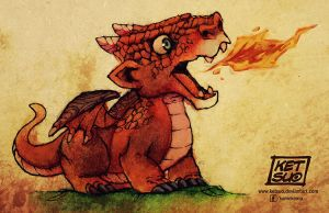 Baby Red Fire Dragon by KetsuoTategami