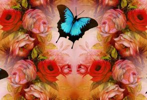 Beautiful-roses-and-butterfly by analovecatdog