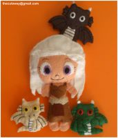 .:Dany and the dragons:. felt plushies by SaMtRoNiKa