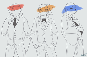 Turtles in Fancy Clothes by SakyCchan