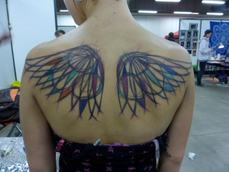 Abstract collar wings - work i by whiterabbittattoo
