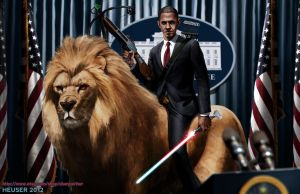 Obama Riding a lion by SharpWriter