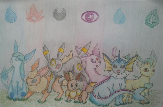 Evee Evolutions With Background by ImJustPepijn
