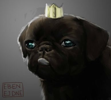 The King of Pugs (sketch) by ebenejdne