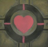 Portal Companion Cube Painting by paintmeaperfectworld