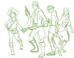 Motley crew of pirates by row-strum-roll