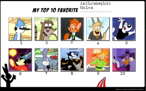 BBAngel17's Top 10 Anthromophic Males (example) by BBAngel17