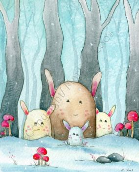 Waldgeister ala Totoro by dragonflywatercolors