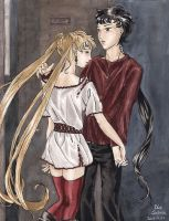 Usagi and Seiya arriving by Seeraholic