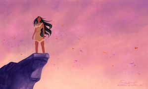 Pocahontas on the Cliff by reginaac57
