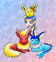 Eeveelutions (Pokemon) colored by MikariStar