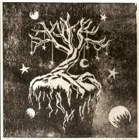 Woodcut Tree Black by death2starbucks
